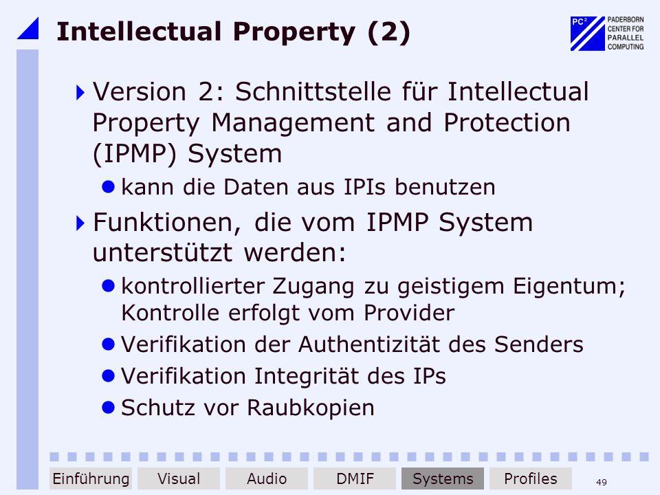 49 Intellectual Property (2) Version 2: Schnittstelle für Intellectual Property Management and Protection (IPMP) System kann die Daten aus IPIs benutz