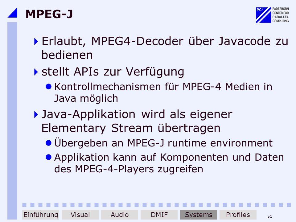 51 MPEG-J Erlaubt, MPEG4-Decoder über Javacode zu bedienen stellt APIs zur Verfügung Kontrollmechanismen für MPEG-4 Medien in Java möglich Java-Applik