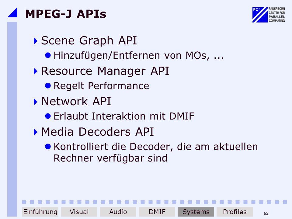 52 MPEG-J APIs Scene Graph API Hinzufügen/Entfernen von MOs,... Resource Manager API Regelt Performance Network API Erlaubt Interaktion mit DMIF Media