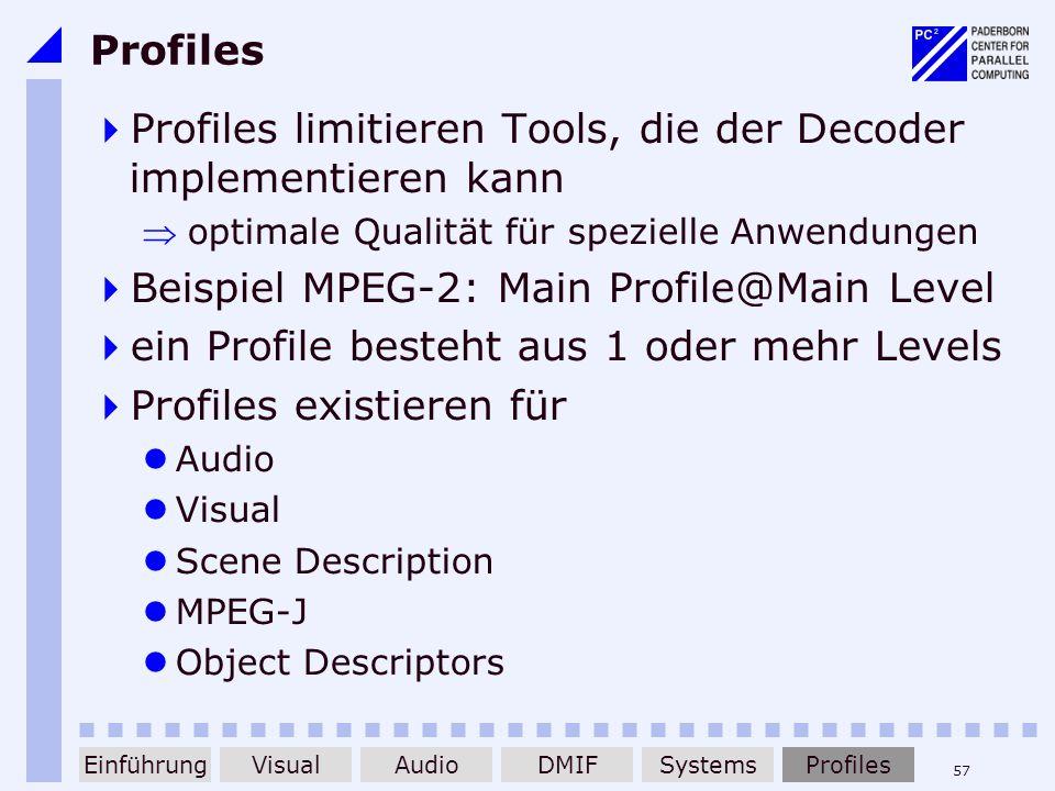 57 Profiles Profiles limitieren Tools, die der Decoder implementieren kann optimale Qualität für spezielle Anwendungen Beispiel MPEG-2: Main Profile@M