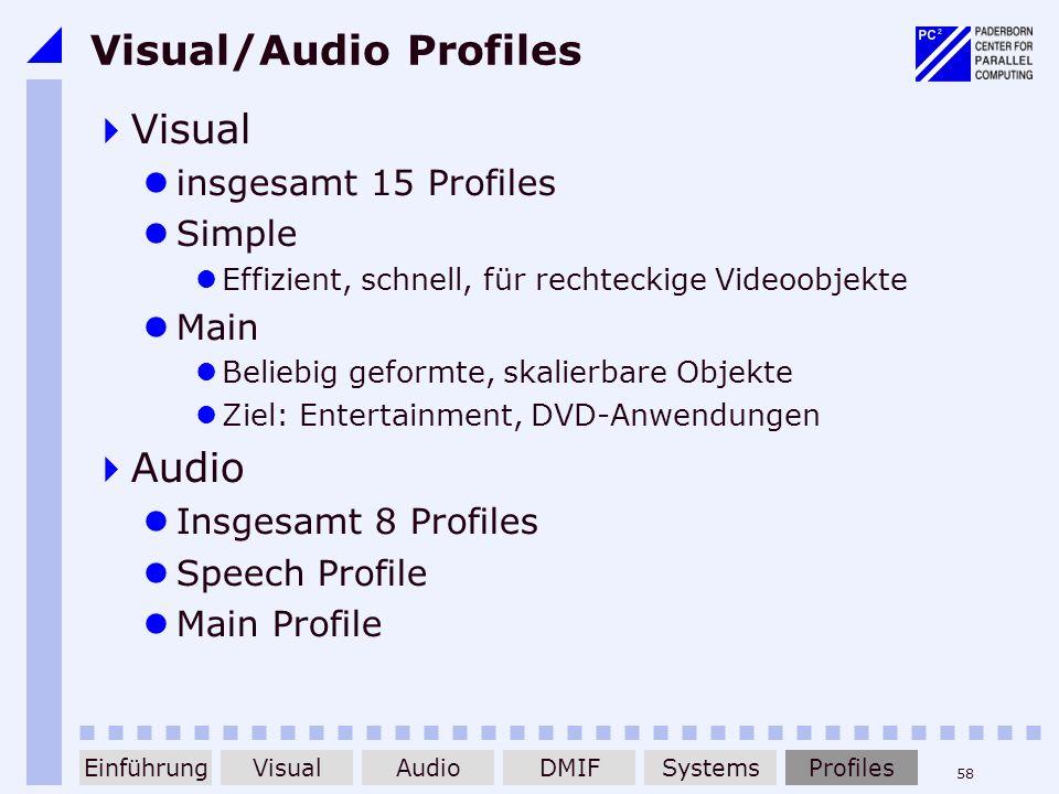 58 Visual/Audio Profiles Visual insgesamt 15 Profiles Simple Effizient, schnell, für rechteckige Videoobjekte Main Beliebig geformte, skalierbare Obje