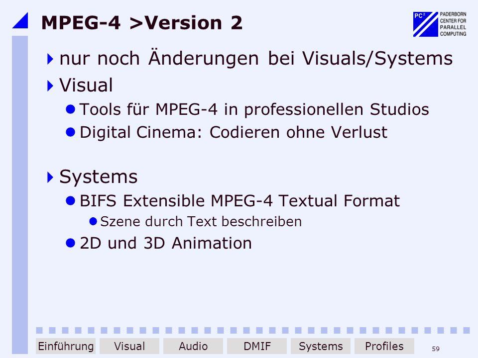 59 MPEG-4 >Version 2 nur noch Änderungen bei Visuals/Systems Visual Tools für MPEG-4 in professionellen Studios Digital Cinema: Codieren ohne Verlust