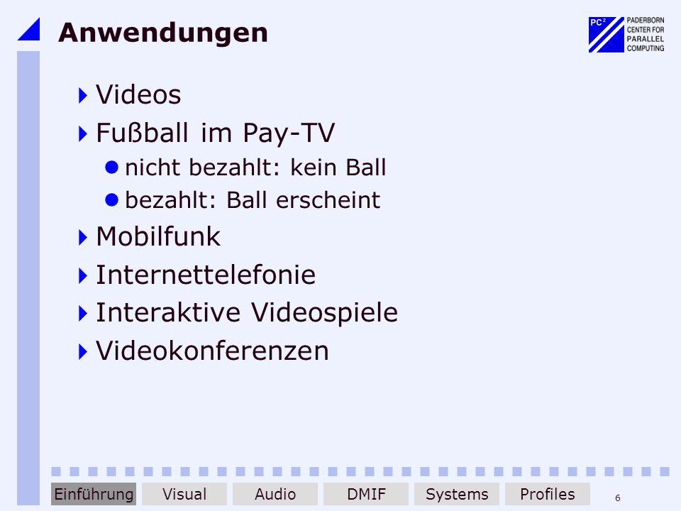 6 Anwendungen Videos Fußball im Pay-TV nicht bezahlt: kein Ball bezahlt: Ball erscheint Mobilfunk Internettelefonie Interaktive Videospiele Videokonfe