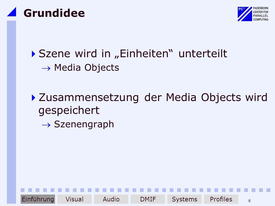 8 Grundidee Szene wird in Einheiten unterteilt Media Objects Zusammensetzung der Media Objects wird gespeichert Szenengraph EinführungDMIFAudioVisualS