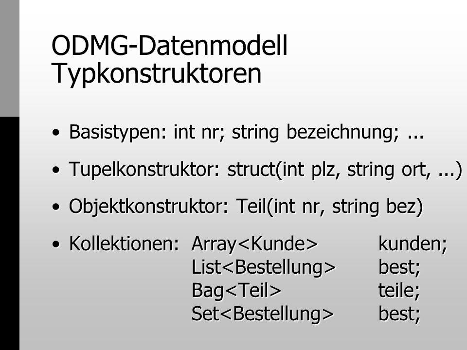 ODMG-Datenmodell Typkonstruktoren Basistypen: int nr; string bezeichnung;...Basistypen: int nr; string bezeichnung;... Tupelkonstruktor: struct(int pl