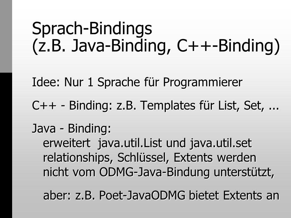 Sprach-Bindings (z.B. Java-Binding, C++-Binding) Idee: Nur 1 Sprache für Programmierer C++ - Binding: z.B. Templates für List, Set,... Java - Binding: