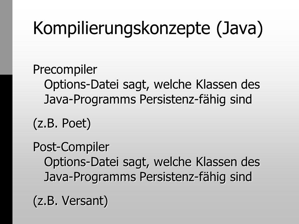 Kompilierungskonzepte (Java) Precompiler Options-Datei sagt, welche Klassen des Java-Programms Persistenz-fähig sind (z.B. Poet) Post-Compiler Options