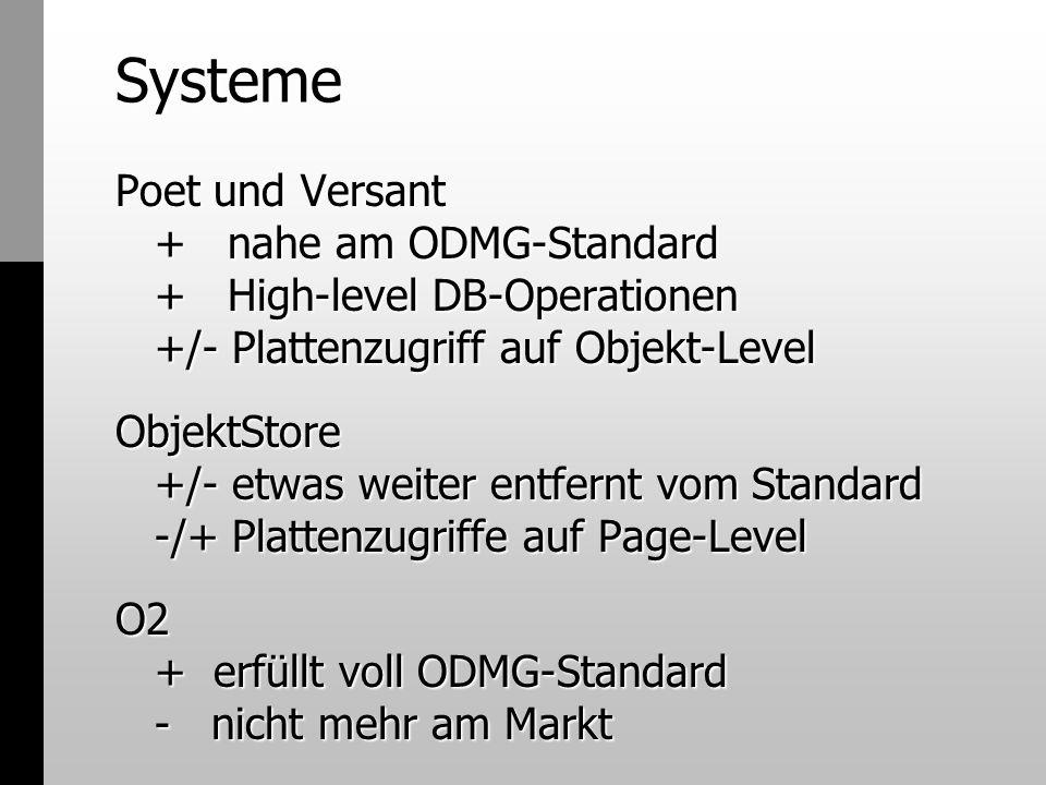 Systeme Poet und Versant + nahe am ODMG-Standard + High-level DB-Operationen +/- Plattenzugriff auf Objekt-Level ObjektStore +/- etwas weiter entfernt