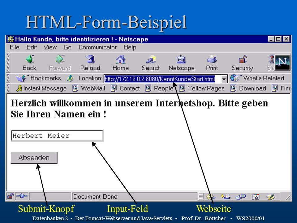 Datenbanken 2 - Der Tomcat-Webserver und Java-Servlets - Prof. Dr. Böttcher - WS2000/01 HTML-Form-Beispiel Input-FeldSubmit-KnopfWebseite
