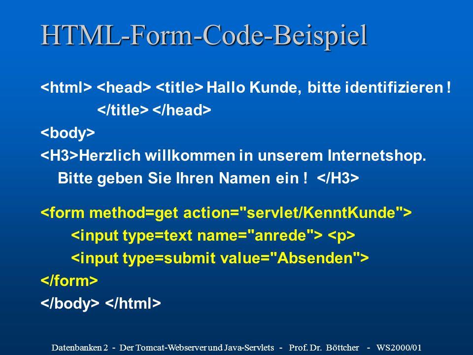 Datenbanken 2 - Der Tomcat-Webserver und Java-Servlets - Prof. Dr. Böttcher - WS2000/01 HTML-Form-Code-Beispiel Hallo Kunde, bitte identifizieren ! He