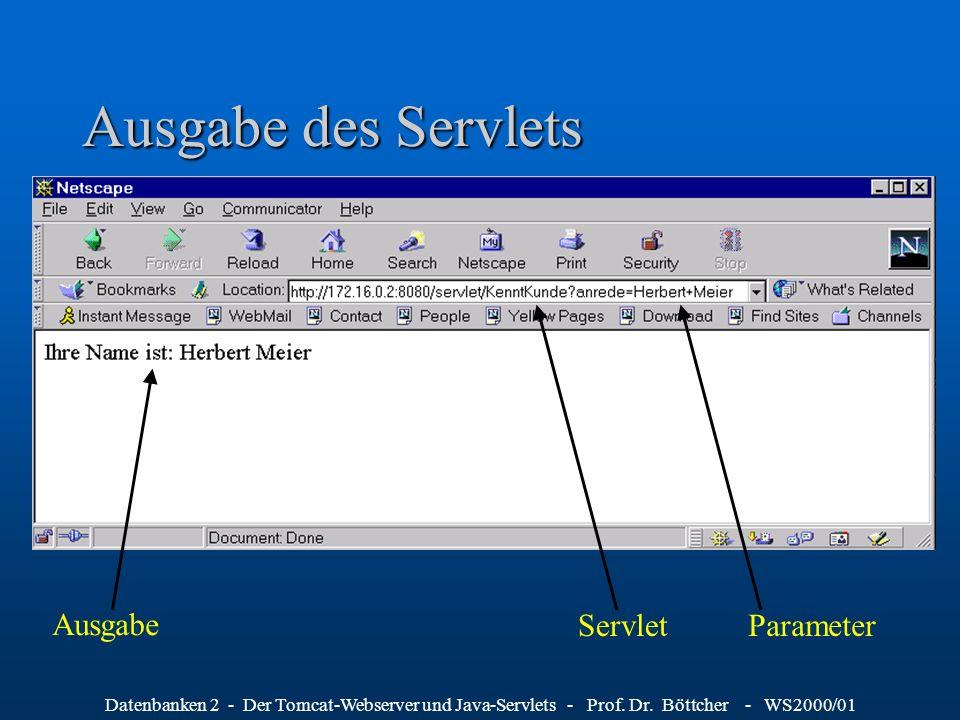 Datenbanken 2 - Der Tomcat-Webserver und Java-Servlets - Prof. Dr. Böttcher - WS2000/01 Ausgabe des Servlets Ausgabe ParameterServlet