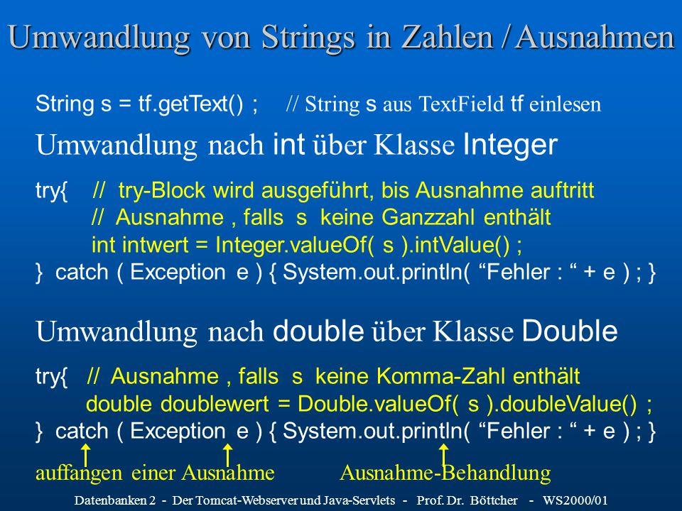Datenbanken 2 - Der Tomcat-Webserver und Java-Servlets - Prof. Dr. Böttcher - WS2000/01 Umwandlung von Strings in Zahlen / Ausnahmen String s = tf.get