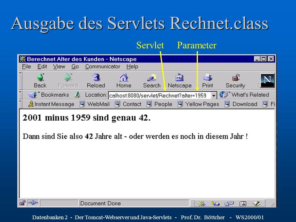 Datenbanken 2 - Der Tomcat-Webserver und Java-Servlets - Prof. Dr. Böttcher - WS2000/01 Ausgabe des Servlets Rechnet.class ParameterServlet