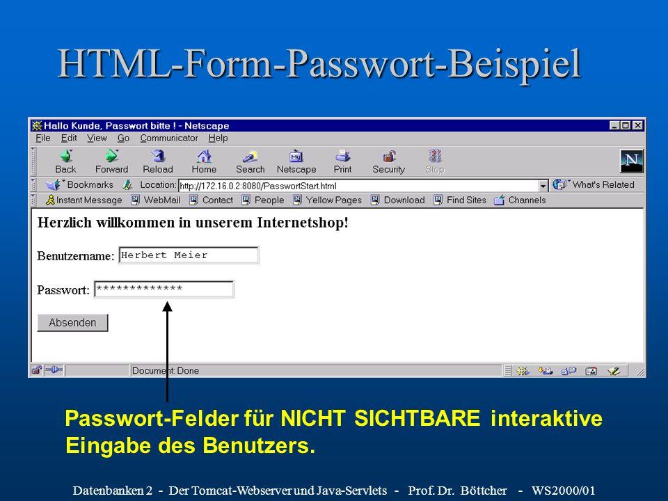 Datenbanken 2 - Der Tomcat-Webserver und Java-Servlets - Prof. Dr. Böttcher - WS2000/01 HTML-Form-Passwort-Beispiel Passwort-Felder für NICHT SICHTBAR