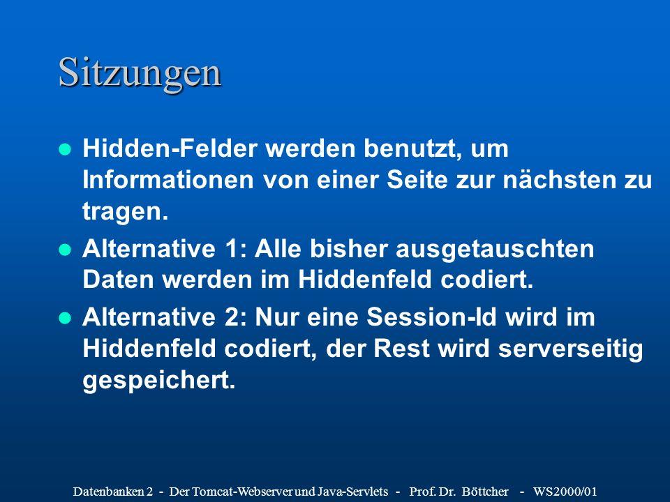 Datenbanken 2 - Der Tomcat-Webserver und Java-Servlets - Prof. Dr. Böttcher - WS2000/01 Sitzungen Hidden-Felder werden benutzt, um Informationen von e