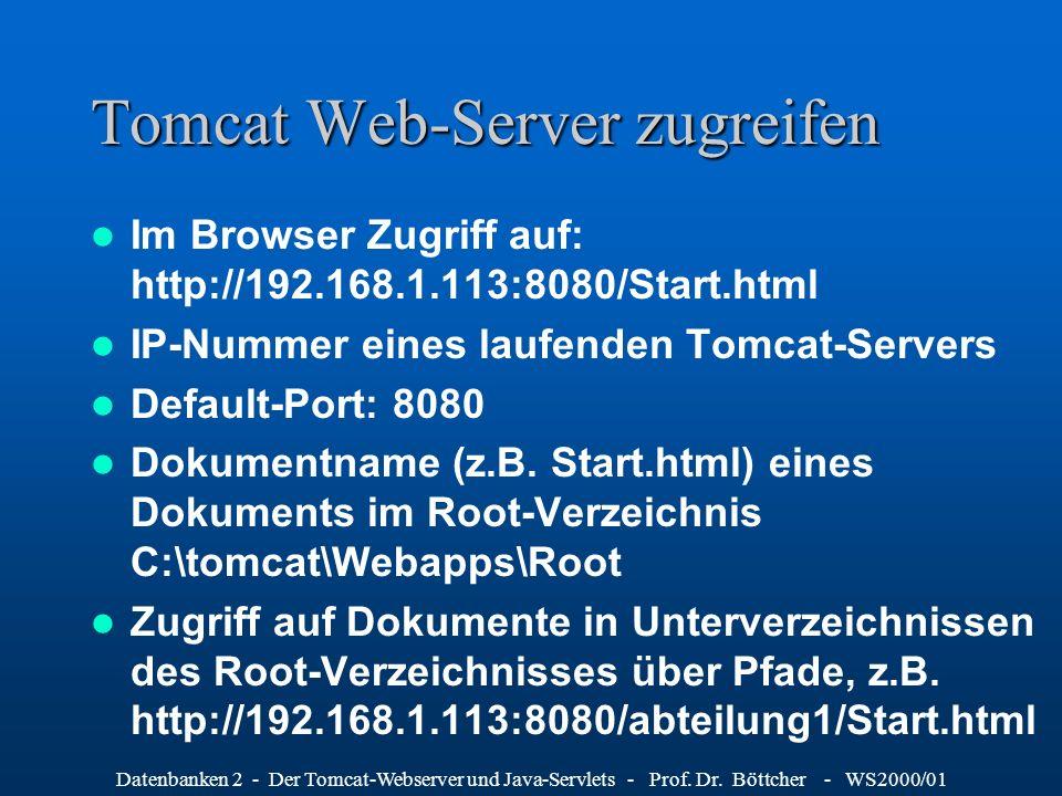 Datenbanken 2 - Der Tomcat-Webserver und Java-Servlets - Prof. Dr. Böttcher - WS2000/01 Tomcat Web-Server zugreifen Im Browser Zugriff auf: http://192