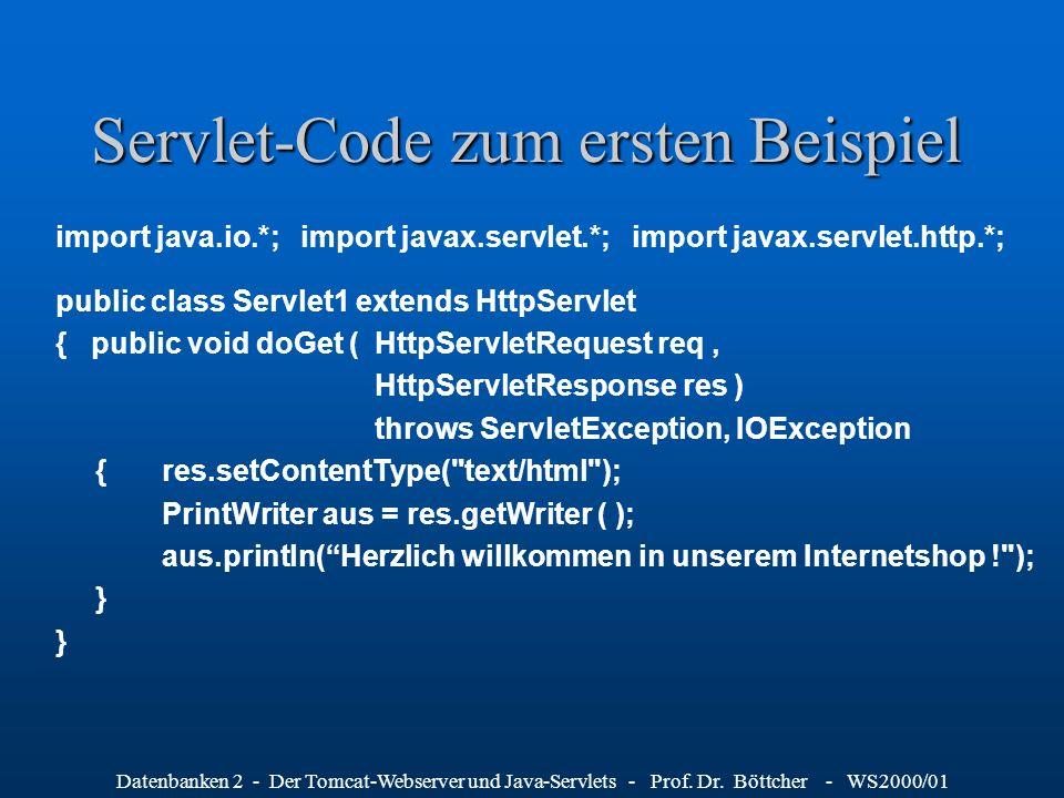 Datenbanken 2 - Der Tomcat-Webserver und Java-Servlets - Prof. Dr. Böttcher - WS2000/01 Servlet-Code zum ersten Beispiel import java.io.*; import java