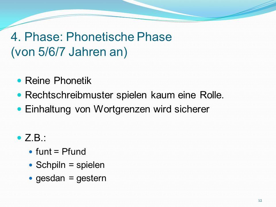 4. Phase: Phonetische Phase (von 5/6/7 Jahren an) Reine Phonetik Rechtschreibmuster spielen kaum eine Rolle. Einhaltung von Wortgrenzen wird sicherer