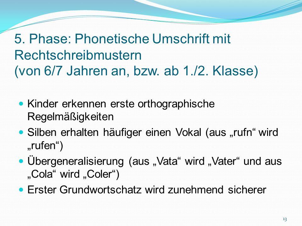 5. Phase: Phonetische Umschrift mit Rechtschreibmustern (von 6/7 Jahren an, bzw. ab 1./2. Klasse) Kinder erkennen erste orthographische Regelmäßigkeit