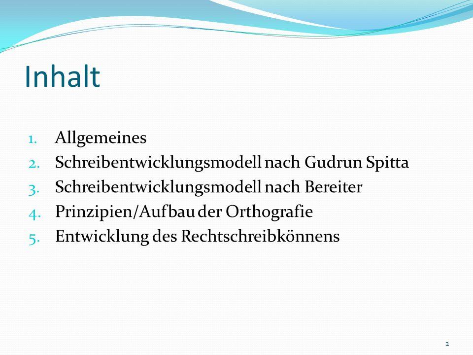 Inhalt 1. Allgemeines 2. Schreibentwicklungsmodell nach Gudrun Spitta 3. Schreibentwicklungsmodell nach Bereiter 4. Prinzipien/Aufbau der Orthografie