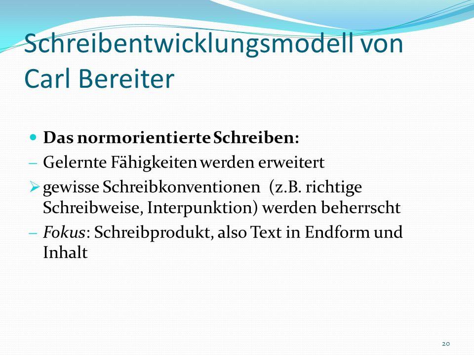 Schreibentwicklungsmodell von Carl Bereiter Das normorientierte Schreiben: Gelernte Fähigkeiten werden erweitert gewisse Schreibkonventionen (z.B. ric