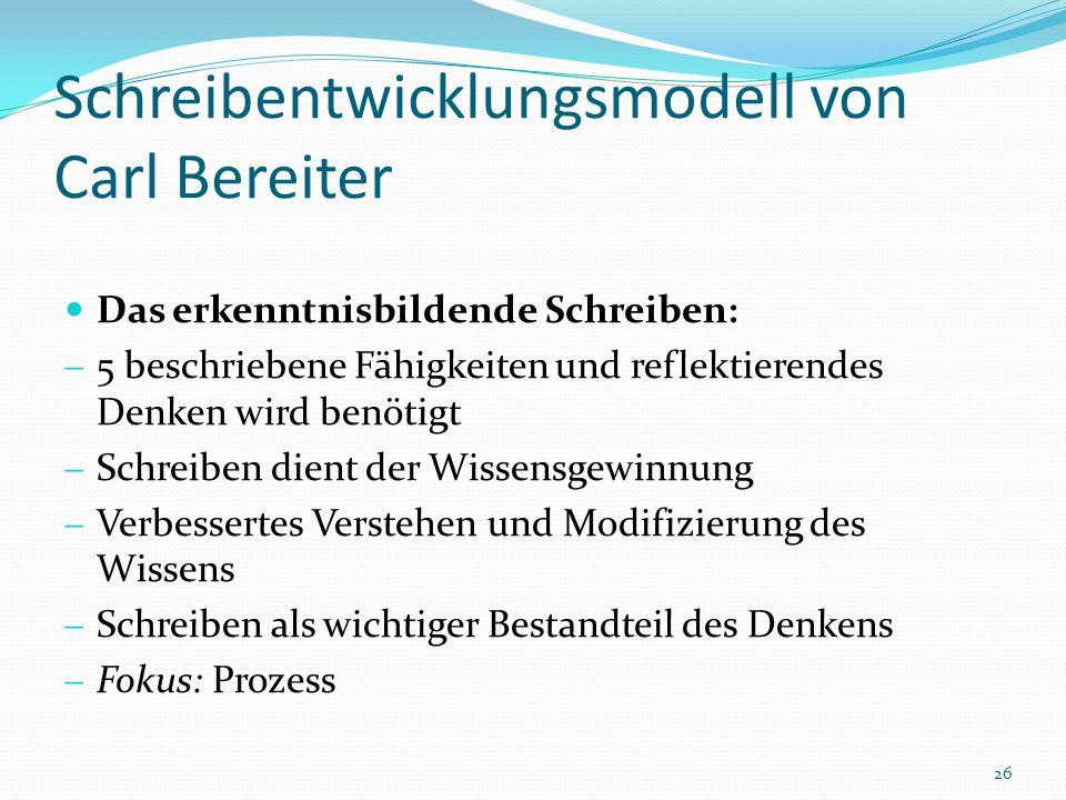 Schreibentwicklungsmodell von Carl Bereiter Das erkenntnisbildende Schreiben: 5 beschriebene Fähigkeiten und reflektierendes Denken wird benötigt Schr