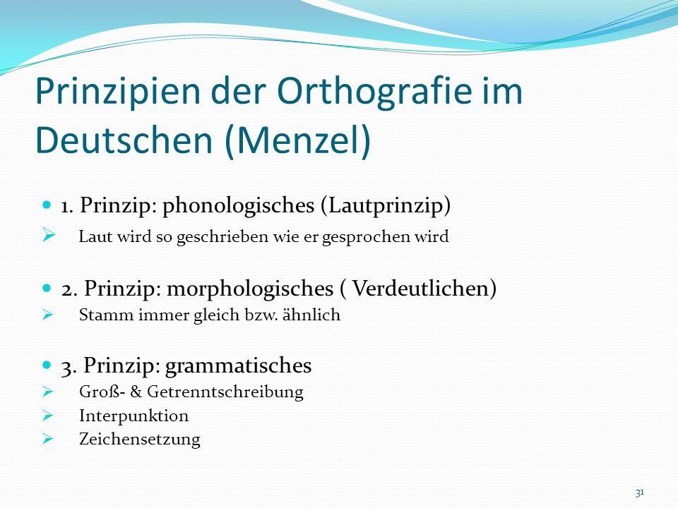 Prinzipien der Orthografie im Deutschen (Menzel) 1. Prinzip: phonologisches (Lautprinzip) Laut wird so geschrieben wie er gesprochen wird 2. Prinzip: