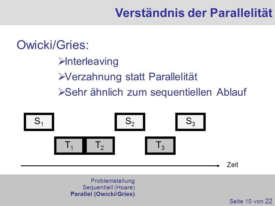 Owicki/Gries: Interleaving Verzahnung statt Parallelität Sehr ähnlich zum sequentiellen Ablauf Verständnis der Parallelität Zeit S1S1 S3S3 S2S2 T1T1 T