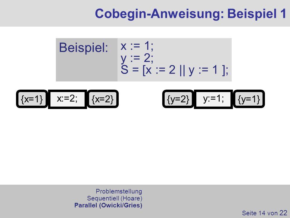 Cobegin-Anweisung: Beispiel 1 Seite 14 von 22 x:=2; {x=1}{x=2} Problemstellung Sequentiell (Hoare) Parallel (Owicki/Gries) Beispiel: x := 1; y := 2; S