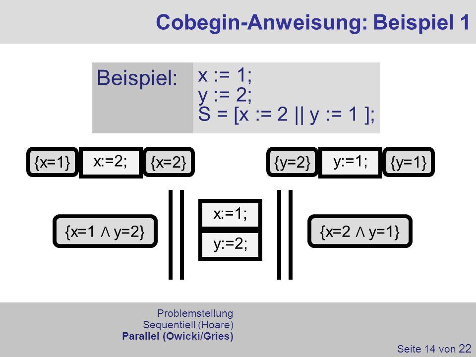 Cobegin-Anweisung: Beispiel 1 Seite 14 von 22 Problemstellung Sequentiell (Hoare) Parallel (Owicki/Gries) Beispiel: x := 1; y := 2; S = [x := 2 || y :