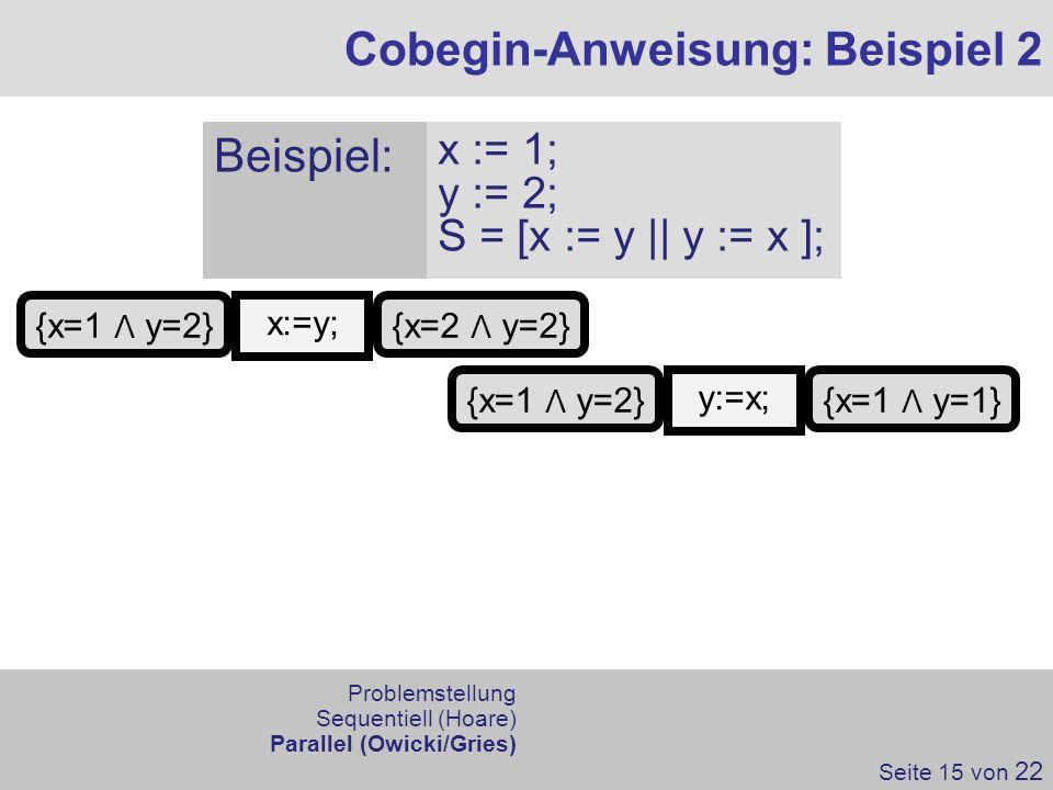 Cobegin-Anweisung: Beispiel 2 Seite 15 von 22 x:=y; {x=1 Λ y=2} Problemstellung Sequentiell (Hoare) Parallel (Owicki/Gries) Beispiel: x := 1; y := 2;