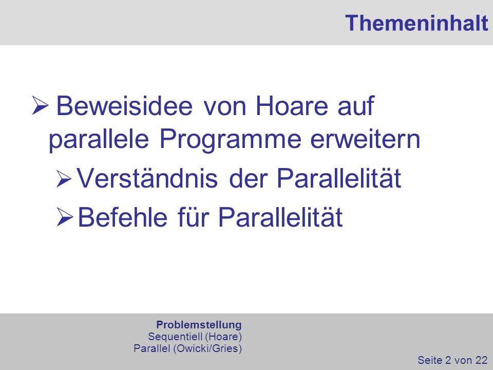 Themeninhalt Beweisidee von Hoare auf parallele Programme erweitern Verständnis der Parallelität Befehle für Parallelität Seite 2 von 22 Problemstellu