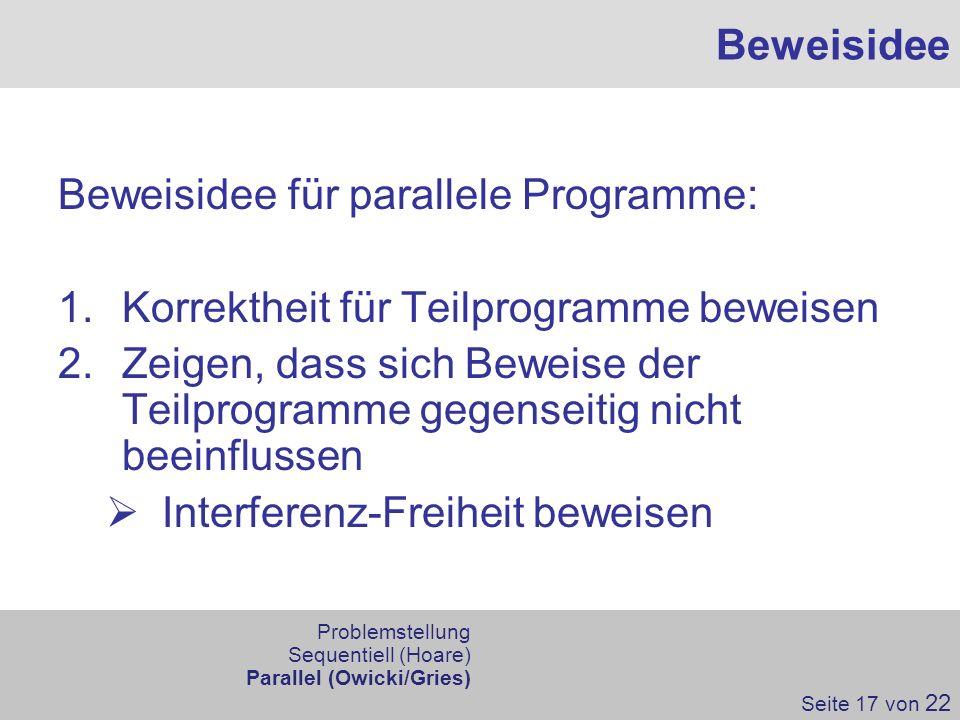 Beweisidee für parallele Programme: 1.Korrektheit für Teilprogramme beweisen 2.Zeigen, dass sich Beweise der Teilprogramme gegenseitig nicht beeinflus