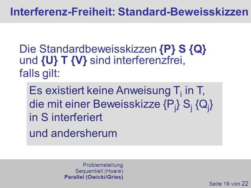 Interferenz-Freiheit: Standard-Beweisskizzen Seite 19 von 22 Die Standardbeweisskizzen {P} S {Q} und {U} T {V} sind interferenzfrei, falls gilt: Es ex