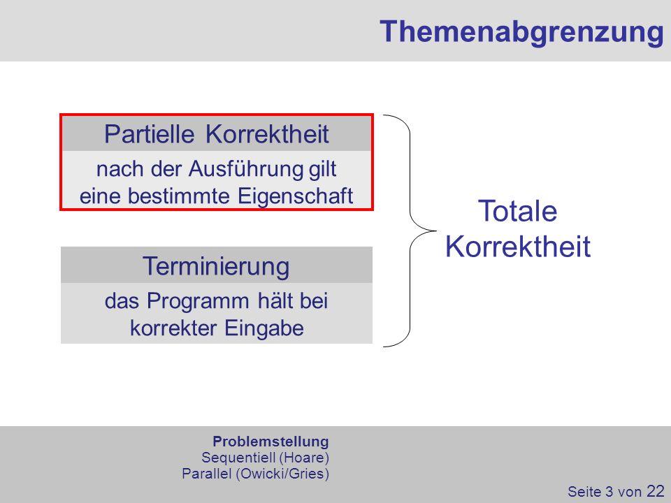 Themenabgrenzung Partielle Korrektheit Terminierung Totale Korrektheit nach der Ausführung gilt eine bestimmte Eigenschaft das Programm hält bei korre