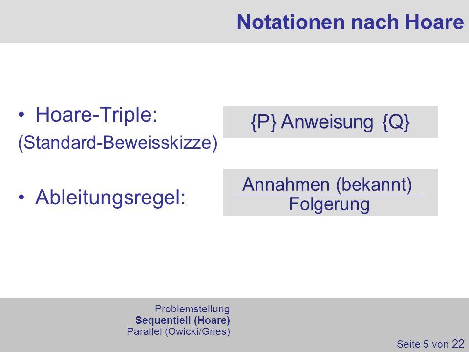 Hoare-Triple: (Standard-Beweisskizze) Ableitungsregel: Notationen nach Hoare {P} Anweisung {Q} Annahmen (bekannt) Folgerung Seite 5 von 22 Problemstel
