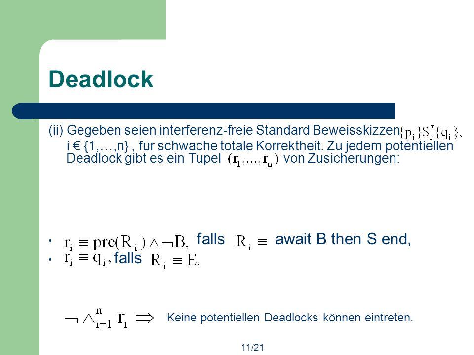 11/21 Deadlock (ii) Gegeben seien interferenz-freie Standard Beweisskizzen i {1,…,n}, für schwache totale Korrektheit.