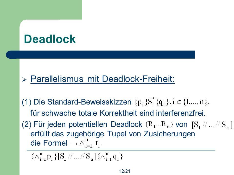 12/21 Deadlock Parallelismus mit Deadlock-Freiheit: (1) Die Standard-Beweisskizzen für schwache totale Korrektheit sind interferenzfrei.