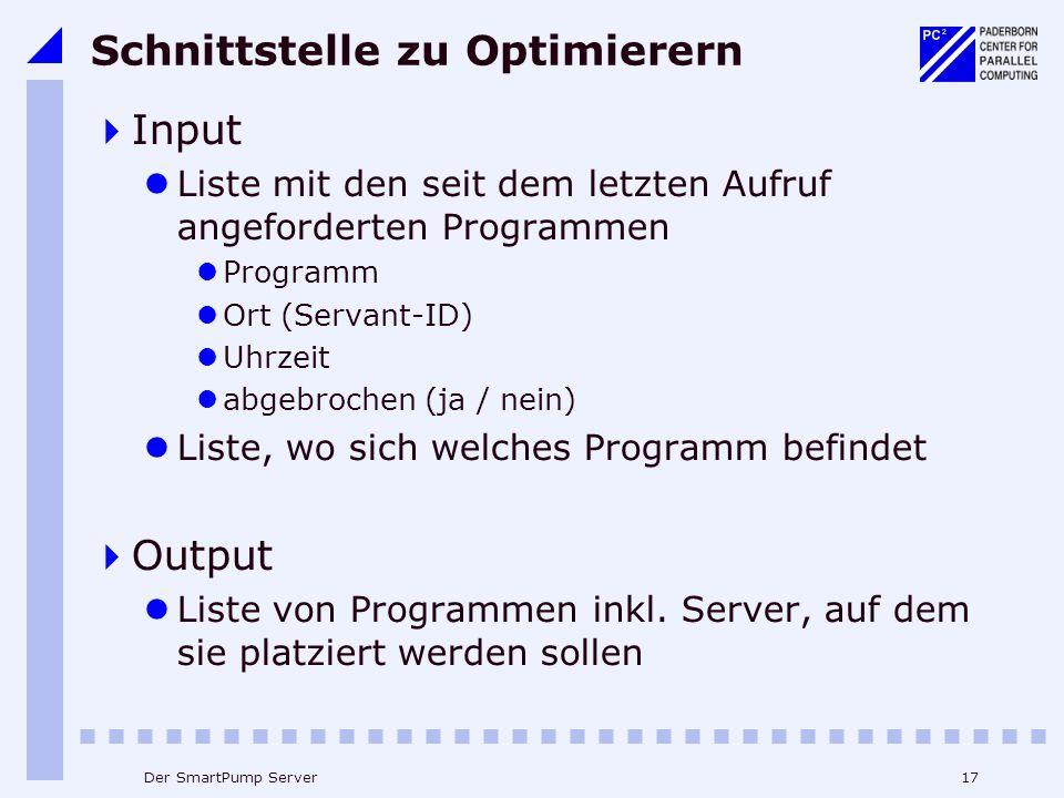 17Der SmartPump Server Schnittstelle zu Optimierern Input Liste mit den seit dem letzten Aufruf angeforderten Programmen Programm Ort (Servant-ID) Uhrzeit abgebrochen (ja / nein) Liste, wo sich welches Programm befindet Output Liste von Programmen inkl.