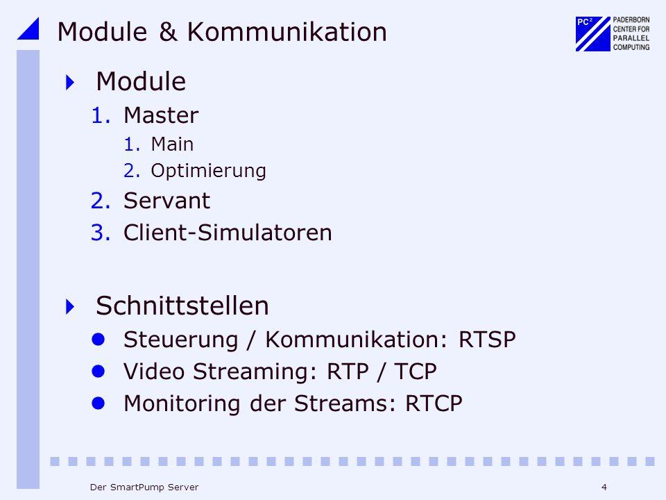 4Der SmartPump Server Module & Kommunikation Module 1.Master 1.Main 2.Optimierung 2.Servant 3.Client-Simulatoren Schnittstellen Steuerung / Kommunikation: RTSP Video Streaming: RTP / TCP Monitoring der Streams: RTCP
