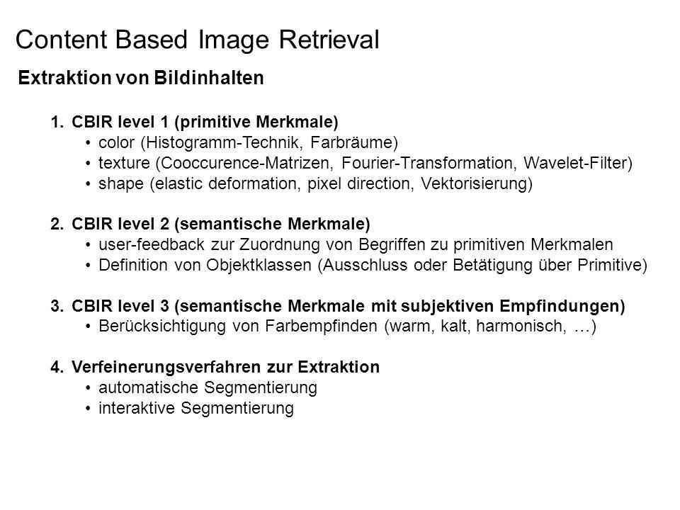 Extraktion von Bildinhalten 1.CBIR level 1 (primitive Merkmale) color (Histogramm-Technik, Farbräume) texture (Cooccurence-Matrizen, Fourier-Transformation, Wavelet-Filter) shape (elastic deformation, pixel direction, Vektorisierung) 2.CBIR level 2 (semantische Merkmale) user-feedback zur Zuordnung von Begriffen zu primitiven Merkmalen Definition von Objektklassen (Ausschluss oder Betätigung über Primitive) 3.CBIR level 3 (semantische Merkmale mit subjektiven Empfindungen) Berücksichtigung von Farbempfinden (warm, kalt, harmonisch, …) 4.Verfeinerungsverfahren zur Extraktion automatische Segmentierung interaktive Segmentierung Content Based Image Retrieval
