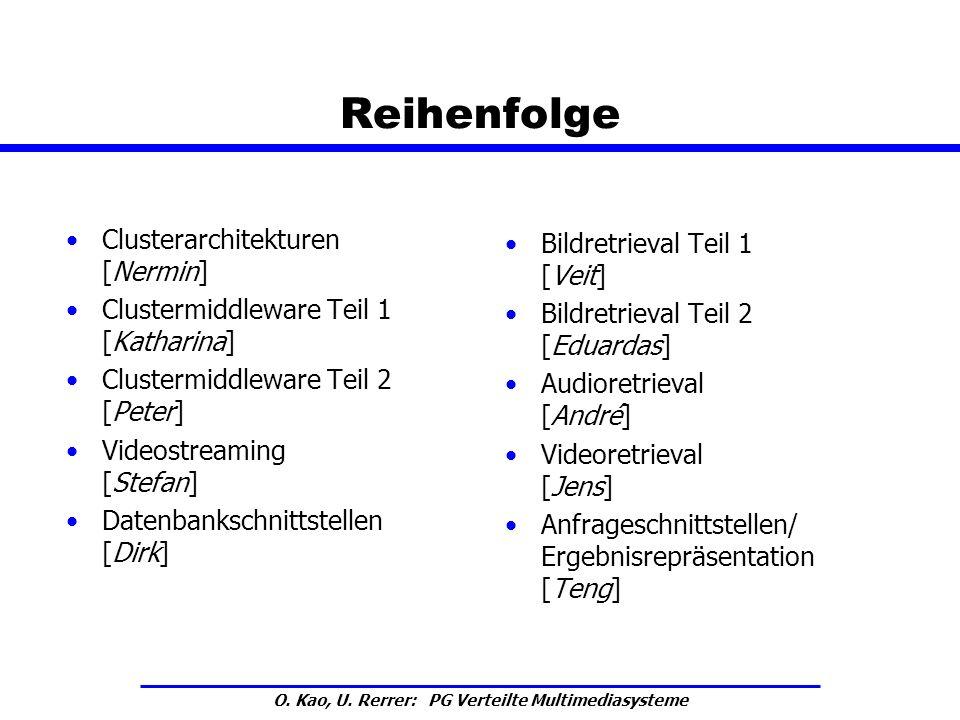 O. Kao, U. Rerrer: PG Verteilte Multimediasysteme Reihenfolge Clusterarchitekturen [Nermin] Clustermiddleware Teil 1 [Katharina] Clustermiddleware Tei
