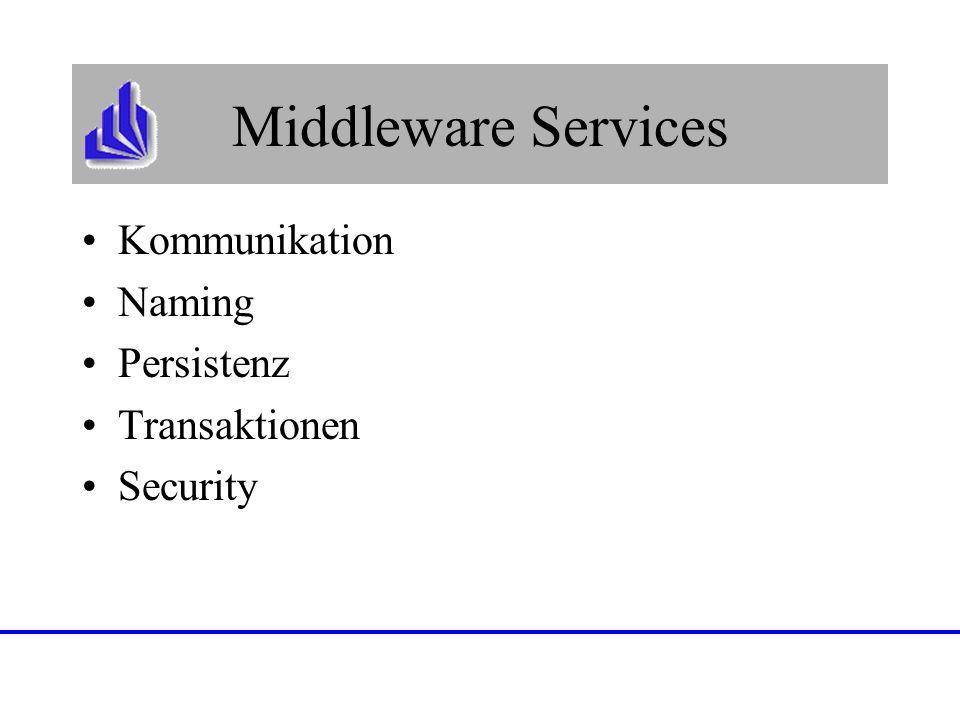 Middleware Services Kommunikation Naming Persistenz Transaktionen Security