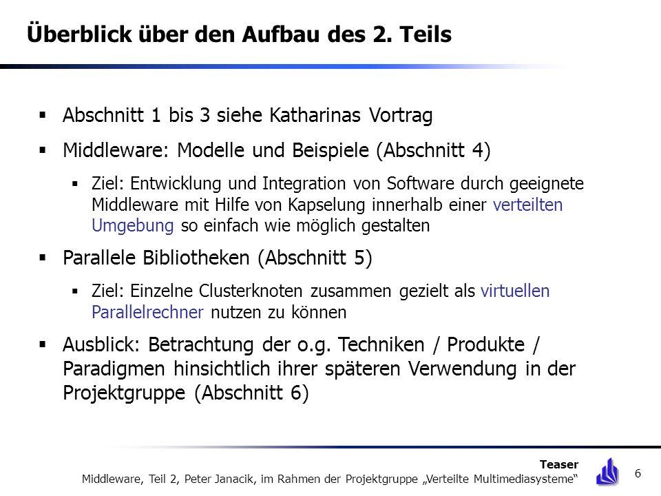 Überblick über den Aufbau des 2. Teils Abschnitt 1 bis 3 siehe Katharinas Vortrag Middleware: Modelle und Beispiele (Abschnitt 4) Ziel: Entwicklung un