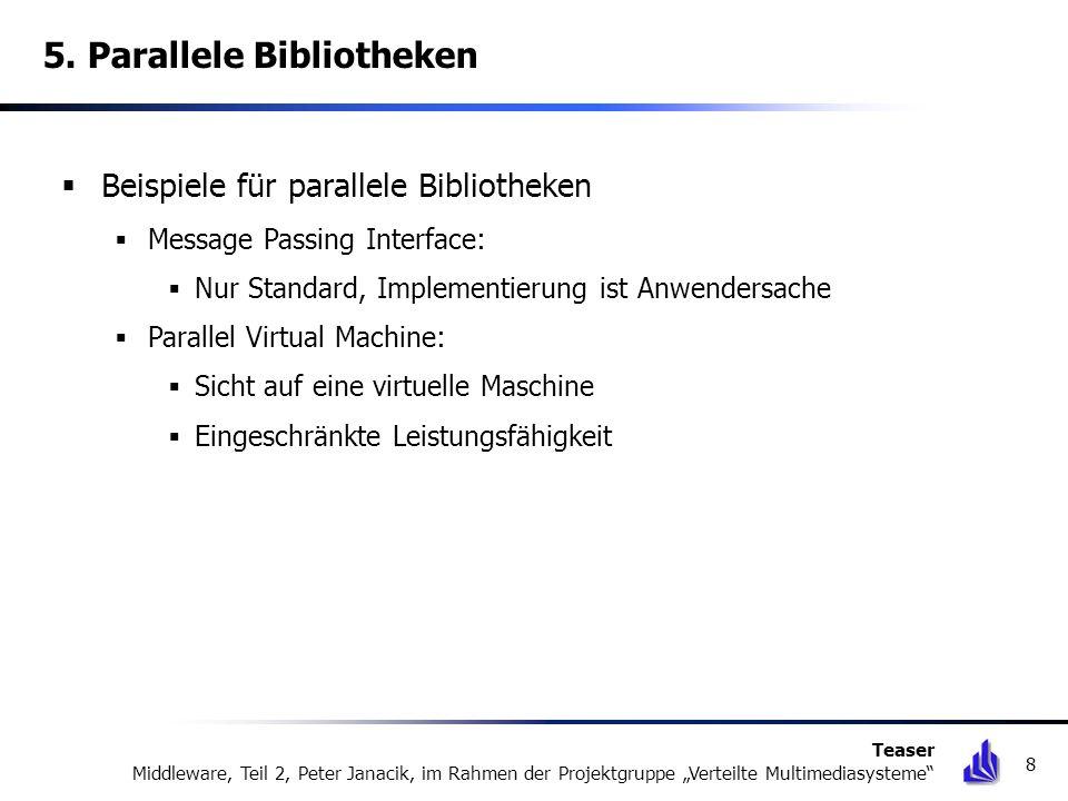5. Parallele Bibliotheken Beispiele für parallele Bibliotheken Message Passing Interface: Nur Standard, Implementierung ist Anwendersache Parallel Vir
