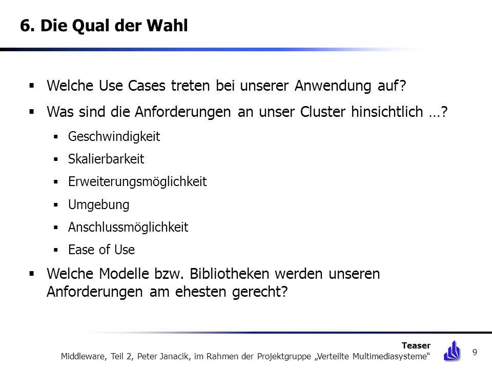 6. Die Qual der Wahl Welche Use Cases treten bei unserer Anwendung auf? Was sind die Anforderungen an unser Cluster hinsichtlich …? Geschwindigkeit Sk