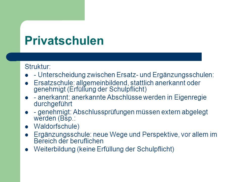 Privatschulen Struktur: - Unterscheidung zwischen Ersatz- und Ergänzungsschulen: Ersatzschule: allgemeinbildend, stattlich anerkannt oder genehmigt (E