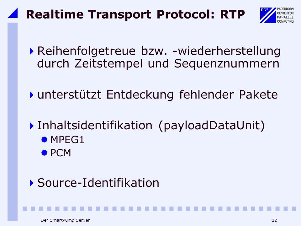 22Der SmartPump Server Realtime Transport Protocol: RTP Reihenfolgetreue bzw.