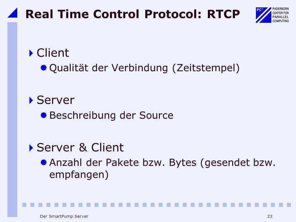 23Der SmartPump Server Real Time Control Protocol: RTCP Client Qualität der Verbindung (Zeitstempel) Server Beschreibung der Source Server & Client Anzahl der Pakete bzw.