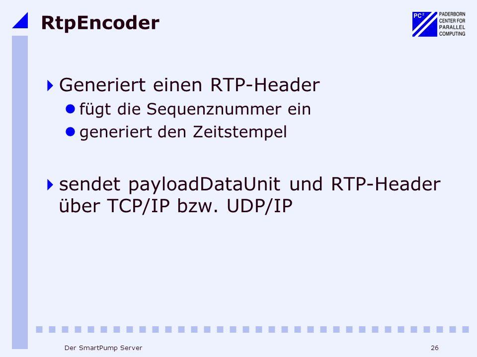 26Der SmartPump Server RtpEncoder Generiert einen RTP-Header fügt die Sequenznummer ein generiert den Zeitstempel sendet payloadDataUnit und RTP-Header über TCP/IP bzw.